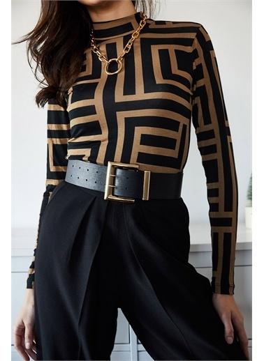 XHAN Siyah Yarım Balıkçı Desenli Bluz 1Kxk2-44712-02 Siyah